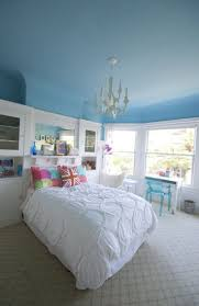 Blue ceiling in a bright and bold kid's room.