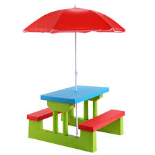 New Kids Picnic Table Children Outdoor Patio Set W Childrens Bench Childrens Outdoor Furniture With Umbrella