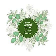 marco redondo verde con ramas de olivo