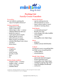 Cruise Packing List What To Pack Family Cruise Vacation Free Printable Packing Lists
