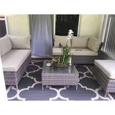 Corvus Bellanger 4 piece Grey Wicker Patio Furniture Set Free