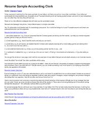 Accounting Clerk Resume Perfect Resume