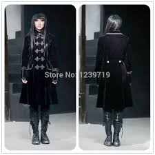 2018 gothic coat punk winter warm coat long trench coat for women fashion trench outwear cosplay black clothes for party m070060 from cindyworld
