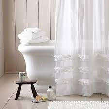 white linenen extra long shower curtain