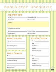 babysitter information sheet printable babysitter checklist imom
