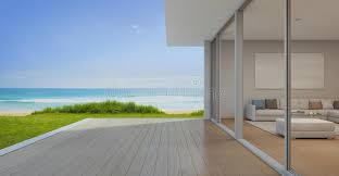 download sea view living room with empty terrace in modern luxury beach house vacation home modern luxury beach house interior o0 interior
