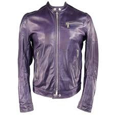 men s dsquared2 42 purple leather snap collar zip motorcycle jacket for