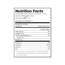 Vitamin Water Nutrition Chart Calories In Vitamin Water Popcornapp Co