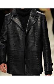 leather alligator black jacket for men