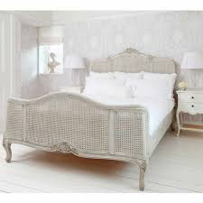 Delightful *For Sale* Ex Display French Bedroom Company French Grey Painted Rattan  King Size Bed