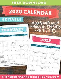 2020 Calendar Editable Free Editable 2020 Calendar For Young Women 2020 Mutual Theme