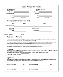 Sample Bill Of Sale 11 Vehicle Bill Of Sales Free Sample Example Format