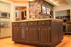 butcher block countertop design with dark brown cabinet and wooden floor for kitchen