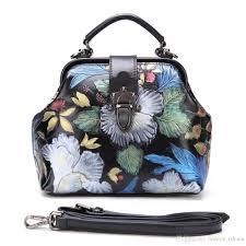 women top handle bags fl tote handbag hand painted genuine leather chinese style embossed shoulder messenger cross bag 193685 purple handbags