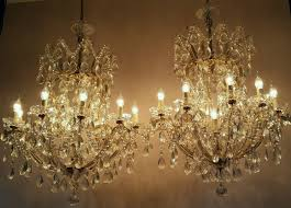 very large matching pair french crystal chandeliers
