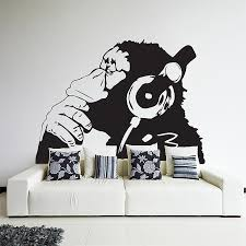 on vinyl wall art stickers with banksy monkey with headphones vinyl wall art decal