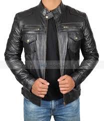 kenton on pocket black real leather jacket