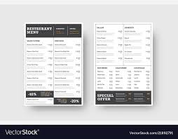 Design The Front And Back Pages Of The Menu For A