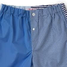 Blue Patchwork Cotton Boxer Shorts Slim Fit Emma Willis