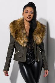 front view reach for more faux fur collared moto jacket in olive brown