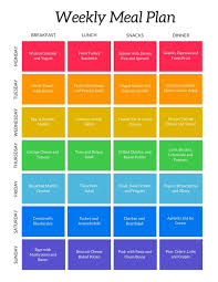 Colorful Weekly Meal Planner Menu Templates By Canva