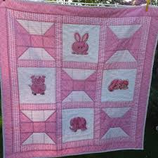 Baby Girl Quilt - Homemade Patchwork Quilts, Newborn Baby Gift ... & Baby Girl Quilt - Homemade Patchwork Quilts, Newborn Baby Gift, Pink  Animals, Baby Bedding Adamdwight.com