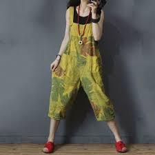 Banana <b>Leaf Printed</b> Summer Dungarees Cotton Korean Overalls ...