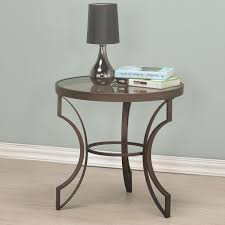 fairhaven round end table with bronze frame and glass top