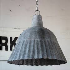 fluted galvanized pendant light fixture
