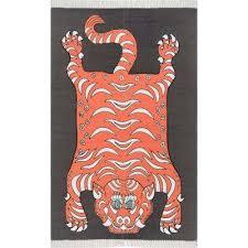 thomas paul tiger tassel orange 8 ft x 10 ft area rug