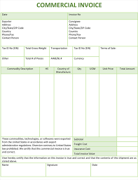 Printable Commercial Invoice Commerical Invoice Template Intersectionpublishing