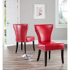 Safavieh En Vogue Dining Matty Red Leather Nailhead Side Chairs - Faux leather dining room chairs