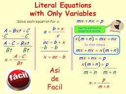 literal equations with only variables