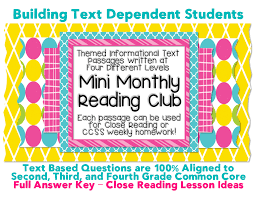 mini monthly units w close reading lesson plan ideas close reading lessons plans informational text passages w text dependent questions common core state standards