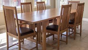 awesome 7 pieces cherry mission style dining room set with long dining table and chairs with