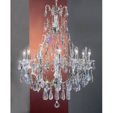 garden of versailles 9 light chandelier crystal type pears straw finish chrome