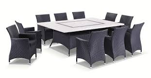 Caesar 10 seat 11pc travertine stone outdoor table setting with wicker outdoor chairs