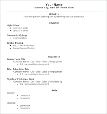 Sample Resume Format For Part Time Jobs Job Formats Examples No