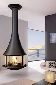 Hanging fireplace with glasses ZELIA modern fireplace - JC Bordelet