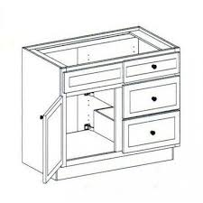 White Kitchen Base Cabinets Vanity Sink Base Cabinet With 3 Drawers Right 42 Online Vanity