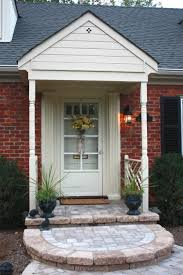 white single front doors. Ideas Of Front Porch Pavers : Charming Small Decoration Using Red Brown Brick White Single Doors