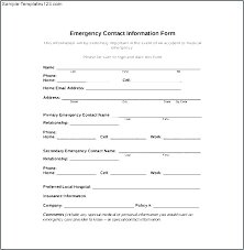 template for emergency contact information student emergency contact form template medical consent new