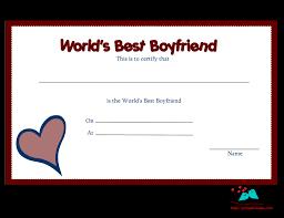 Free Printable Award Certificate Borders Worlds Best Boyfriend