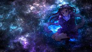Anime Girl With Galaxy Background ...