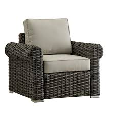 homesullivan camari charcoal rolled arm wicker outdoor patio lounge chair with beige cushions
