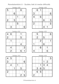 Sudoku Per Bambini 60 Schemi 6x6 Di Media Difficoltà Da Stampare