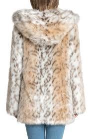 hooded faux fur jacket snow leopard is0134