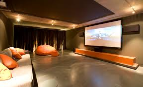 ... Luxurious Home Movie Theater Rooms : Fascinating Movie Theater Room  Design Ideas With Nice Orange Cuhsions ...