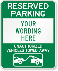 Reserved Signs Templates Parking Street Signs