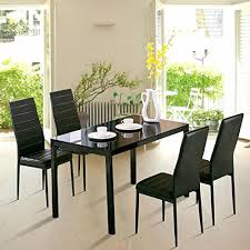 breakfast furniture sets. 4Family 5PC Dining Table Set 4 Chairs Glass Metal Kitchen Room Breakfast Furniture Sets
